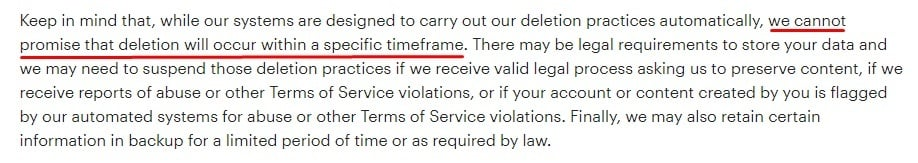 Snapchat Privacy Policy: How Long We Keep Your Information clause - Data retention time excerpt