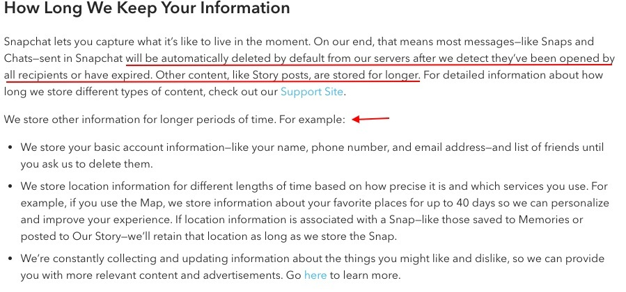 Snapchat Privacy Policy: List excerpt of How Long We Keep Your Information clause