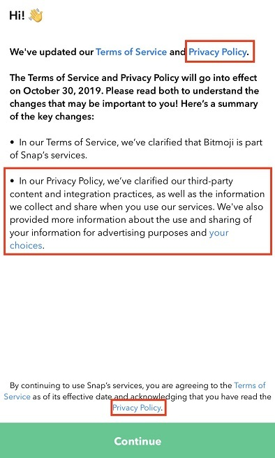 Snapseed Android app Notification about updated Terms of Service and Privacy Policy
