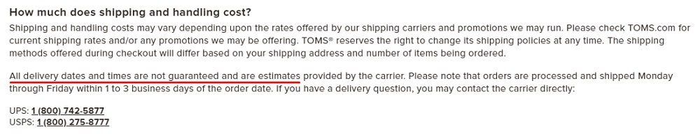 Toms Shipping FAQ: Shipping and Handling cost clause - Delivery dates not guaranteed section highlighted