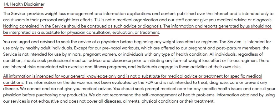 Tone it Up Terms and Conditions: Health Disclaimer