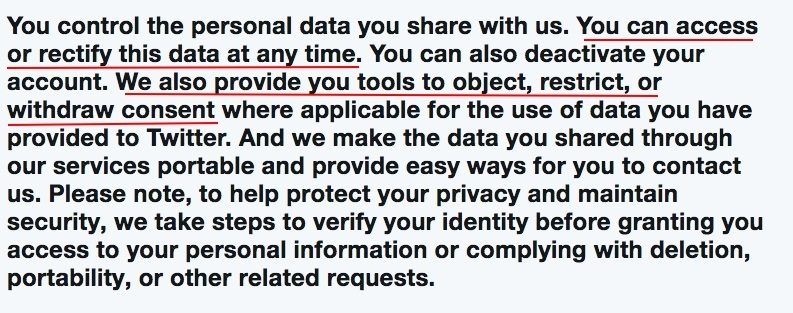 Twitter Privacy Policy: Managing Your Personal Information With Us clause