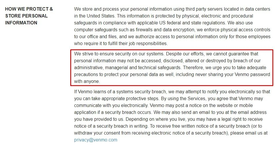 Venmo Privacy Policy: How we protect and store personal information - Security clause