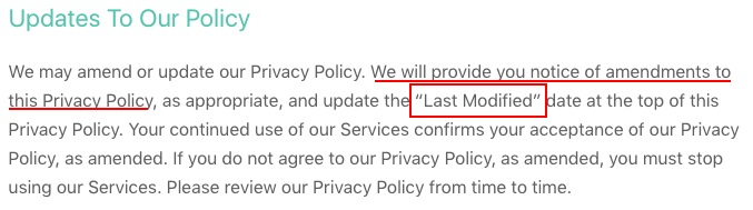 WhatsApp Privacy Policy: Updates to our Policy clause