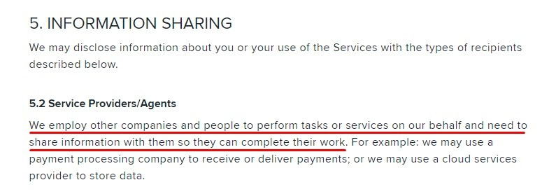 Wish Privacy Policy: Information Sharing - Service Providers and Agents section