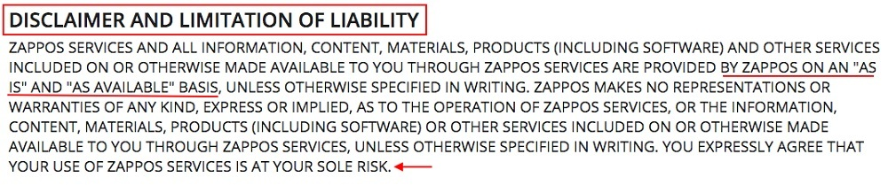 Zappos Conditions of Use: Disclaimer and Limitation of Liability clause excerpt