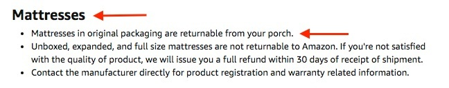 Amazon Help and Customer Service: Returns Policies - Mattresses section