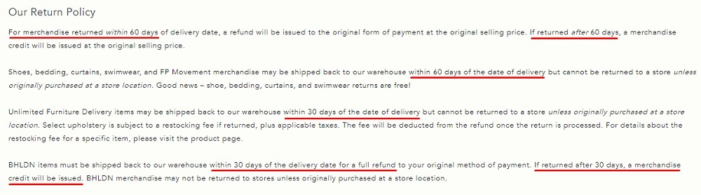 Anthropologie Return and Exchange Policy: Time frame for returns section