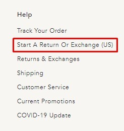 Anthropologie website footer with Return and Exchange Policy link highlighted