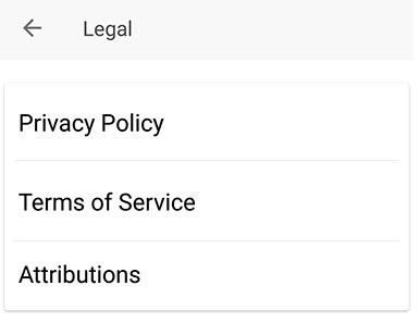 Evernote Android mobile app: Settings/About menu with Legal option highlighted