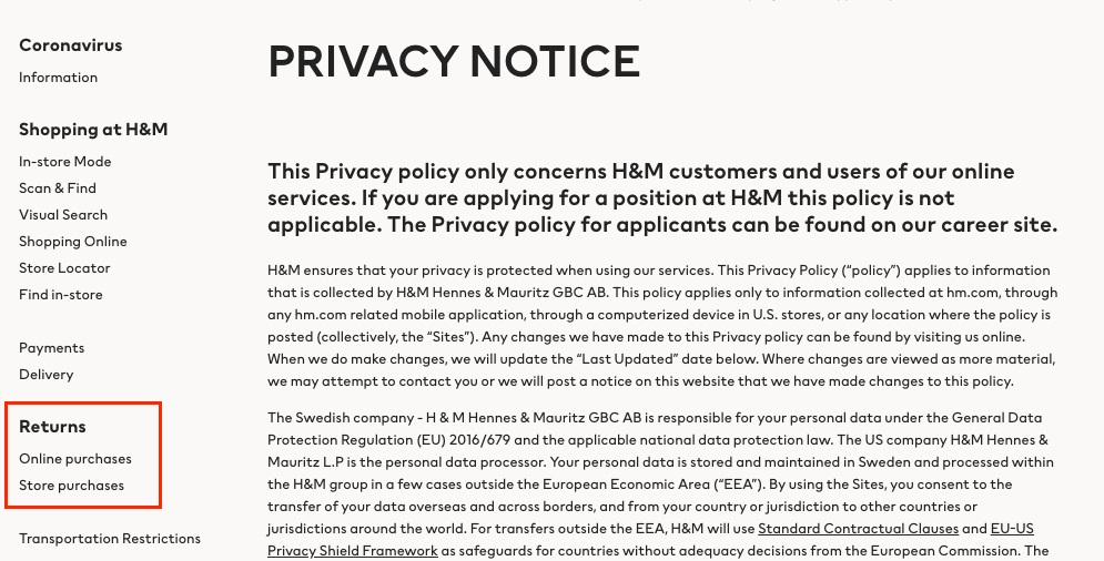 H and M Privacy Notice: Sidebar Returns menu