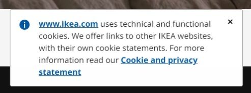 IKEA Cookie Consent notice - browsewrap