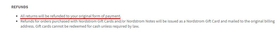 Nordstrom Rack Shipping and Returns Policy: Original Form of Payment