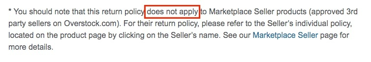 Overstock Return Policy: Return Policy not applicable section