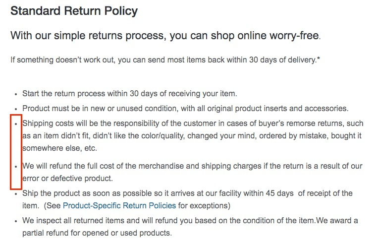 Overstock Return Policy: Return shipping costs section