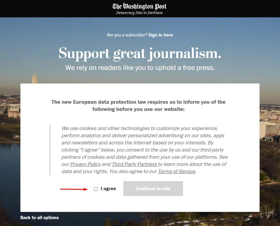 Washington Post Cookie Consent Notice with I agree checkbox