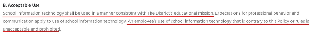 ACSD Employee Acceptable Use Policy: Acceptable Use clause