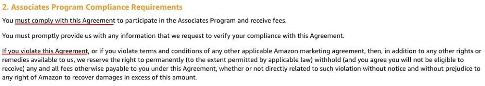 Amazon Associates Program Operating Agreement: Associates Program Compliance Requirements section