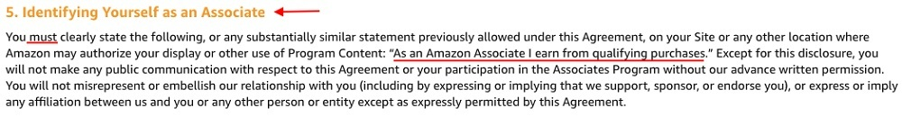 Amazon Associates Program Operating Agreement: Identifying Yourself as an Associate section