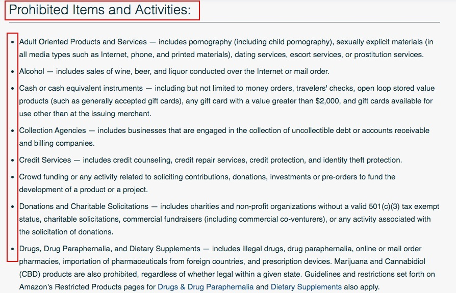 Amazon Pay Acceptable Use Policy: Prohibited Items and Activities clause excerpt