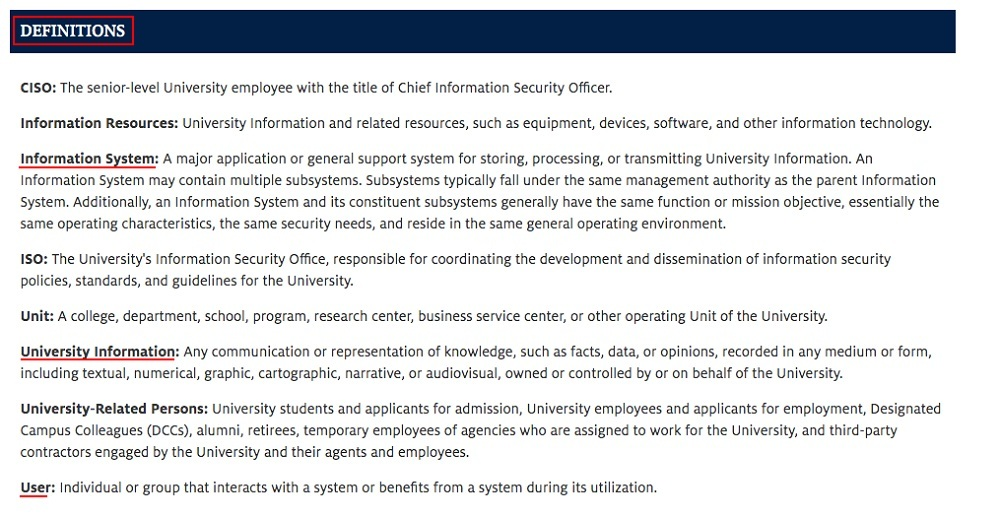 Arizona University Acceptable Use of Computers and Networks Policy: Definitions clause
