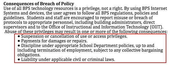BPS Acceptable Use Policy: Consequences of Breach of Policy clause