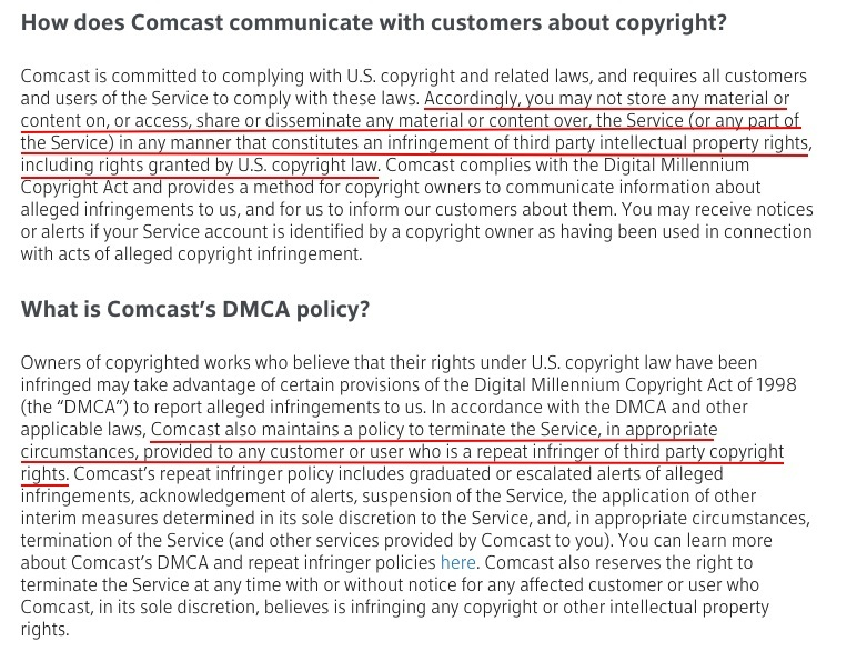 Comcast Acceptable Use Policy: Copyright and DMCA Policy clauses