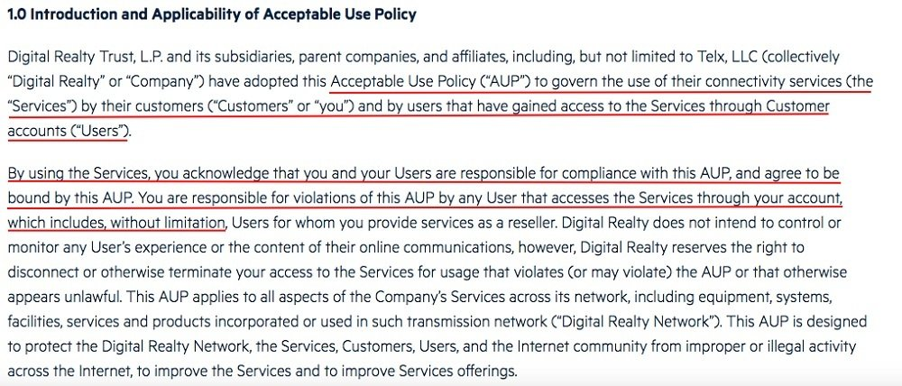 Digital Reality Acceptable Use Policy: Introduction and Applicability of Acceptable Use Policy clause