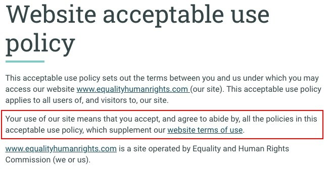 Equality and Human Rights Commission Acceptable Use Policy: Browsewrap section