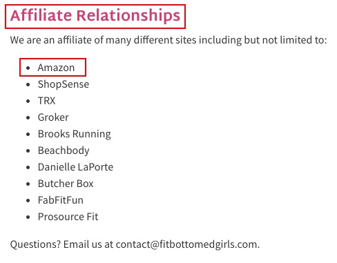Fit Bottomed Girls Disclaimer, Privacy Policy and Terms of Use: Affiliate Relationships clause