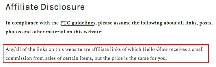 Hello Glow Affiliate Disclosure: FTC section