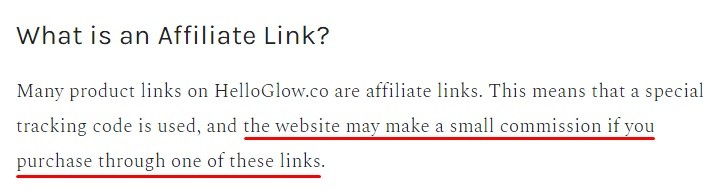 Hello Glow Affiliate Disclosure: What is an Affiliate Link section