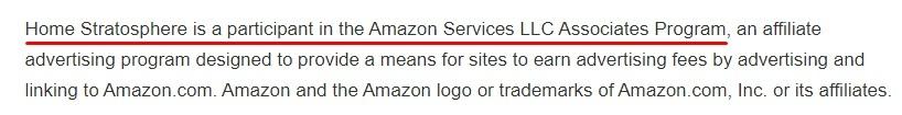 Home Stratosphere Amazon Affiliate Disclaimer