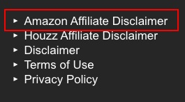 Home Stratosphere website footer with Amazon Affiliate Disclaimer link highlighted