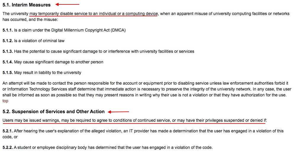 Iowa State University Acceptable Use of Information Technology Resources Policy: Enforcement clause - Interim Measures and Suspension of Services and Other Action sections
