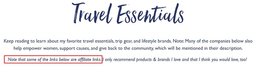 Jessie on a Journey blog: Travel Essentials article with affiliate link highlighted