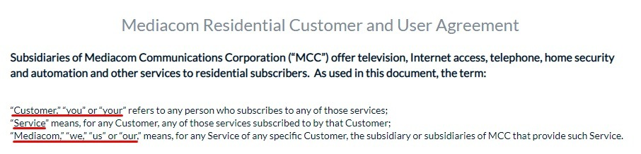 MediacomCable Residential Customer and User Agreement: Definitions section