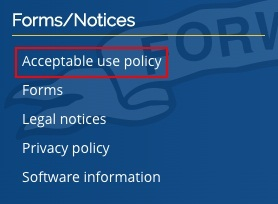 Wisconsin DOT website footer with Acceptable Use Policy link highlighted
