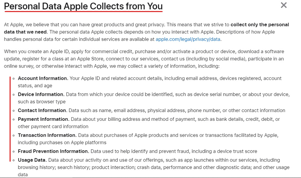 Apple Privacy Policy: Excerpt of Personal Data Apple Collects from You clause