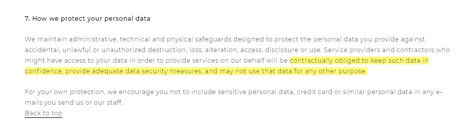 Belmond Privacy Policy: How we protect your personal data - security clause
