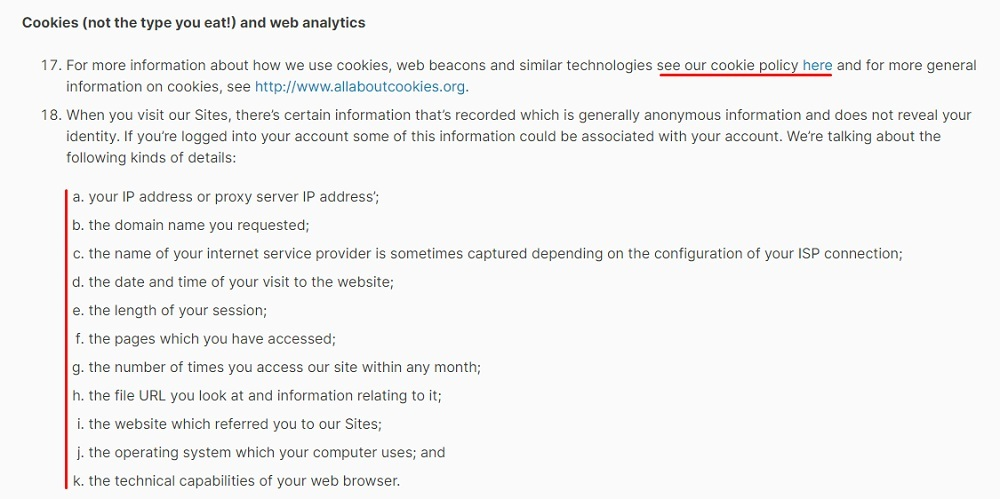 Envato Privacy Policy: Cookies clause
