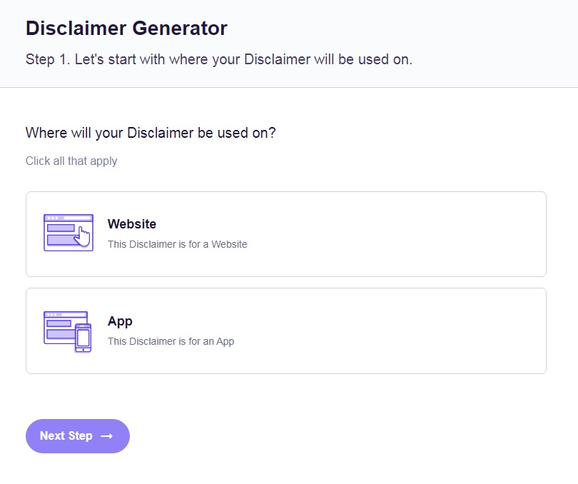 FreePrivacyPolicy: Free Disclaimer Generator - Select platforms where your Disclaimer will be used on - Step 1