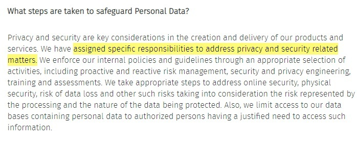 HERE Global Privacy Policy: Security safeguards for personal data clause