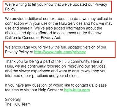 Hulu email about Privacy Policy updates