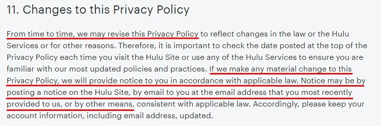 Hulu Privacy Policy: Changes to this Privacy Policy