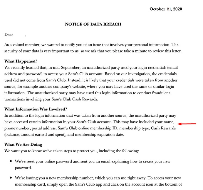 Sam's Club: Excerpt of Notice of Data Breach letter