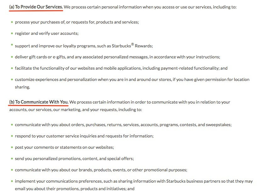Starbucks Privacy Policy: How We Use Your Information clause excerpt
