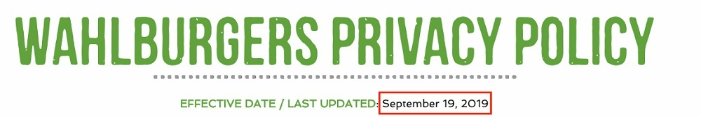 Wahlburgers Privacy Policy: Effective Date - Last Updated date highlighted