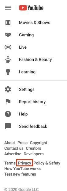 YouTube sidebar with Privacy Policy link highlighted