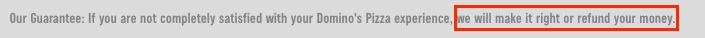 Dominos Pizza Guarantee